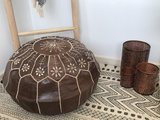 Marokkaanse poef (leer) bruin_