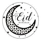 Glossy stickers Eid Mubarak 'maan' 8 stuks_