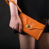 Clutch/portemonnee drieluik Fez 'oranje'_