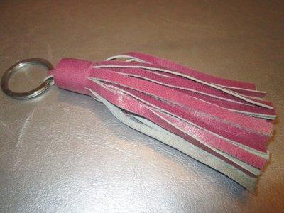 Sleutelhanger leder floche (fuchsia)