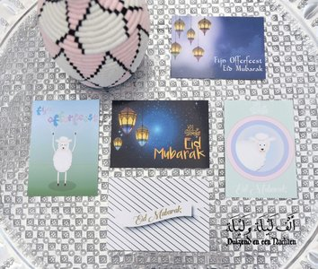 Set van 5 wenskaarten Eid Mubarak
