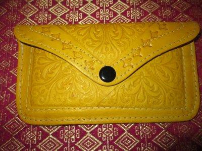 Leren portemonnee geel