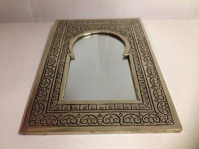 Koperen spiegel Marokko zilver (14,5x22 cm)