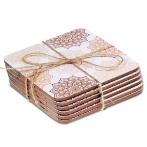 Mandala onderzetters set van 6 (roze)