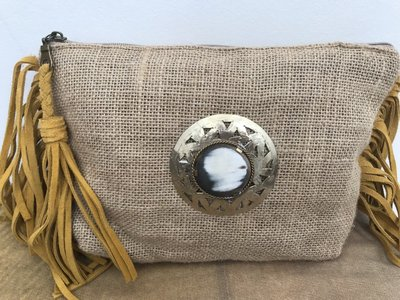 Clutch in jute met suéde