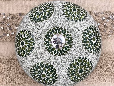 Mozaïek plafonnière wit/groen