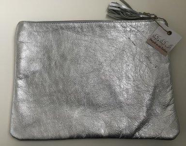 Leder etui zilver 31,5x24cm