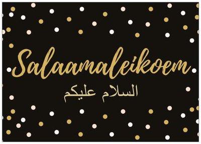 Wenskaart Salaamaleikoem zwart/goud