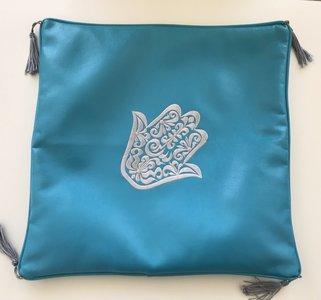 Kussen hoes leder Hand van Fatima turquoise 40x40cm