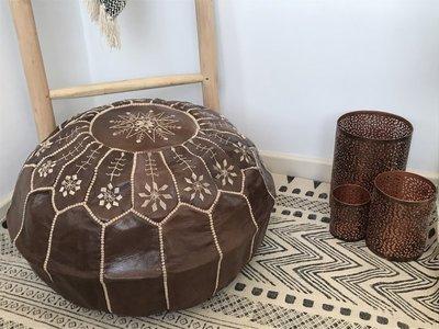 Marokkaanse poef (leer) bruin