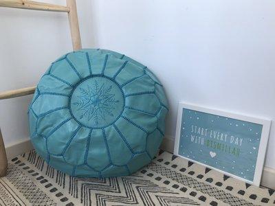 Marokkaanse poef (leer) turquoise
