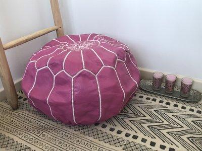 Marokkaanse poef (leer) fuchsia