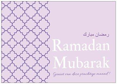 Wenskaart Ramadan Mubarak paars