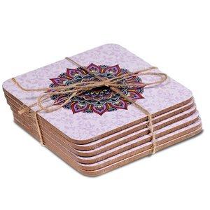 Mandala onderzetters set van 6 (paars)