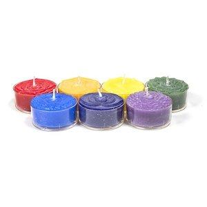 Set van 7 chakra stearine geurtheelichtjes