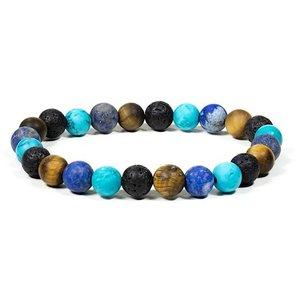 Elastische armband van turquoise, tijgeroog, lapis lazuli en lavasteen