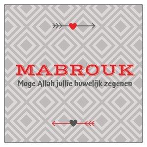Vierkant geschenkkaartje Mabrouk 'huwelijk'