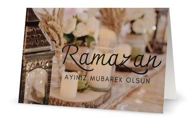 Dubbele glossy wenskaart Ramazan Ayiniz Mubarek Olsun