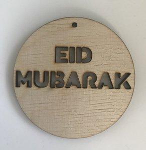 Grote hangtag hout naturel Eid Mubarak
