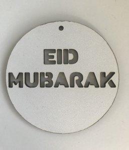 Grote hangtag hout wit Eid Mubarak