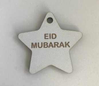 Hangtag ster hout wit Eid Mubarak