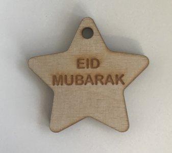 Hangtag ster hout naturel Eid Mubarak