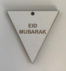 Hangtag vlag hout wit Eid Mubarak