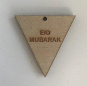 Hangtag vlag hout naturel Eid Mubarak