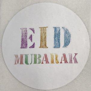 Glossy stickers Eid Mubarak  'colours' 10 stuks
