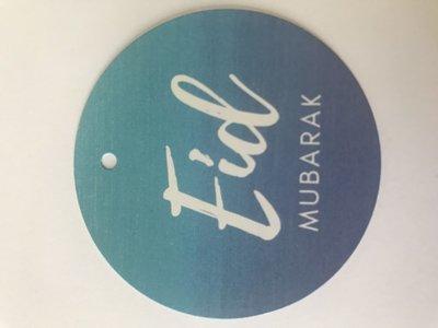 Rond label 6,5cm Eid Mubarak blue (per 20)