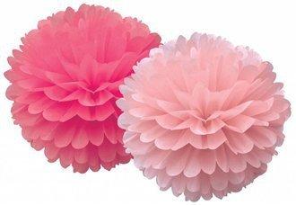 Set van 2 pom poms fuchsia/pink
