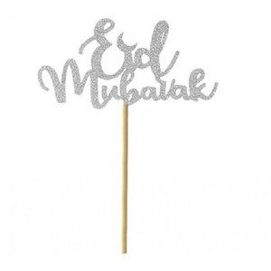 Taarttopper Eid Mubarak Glitter Zilver