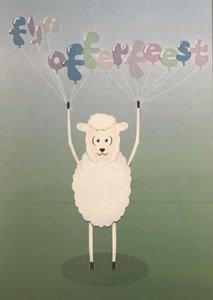 Wenskaart Fijn Offerfeest schaapje met ballonnen