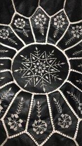 Marokkaanse poef (leer) zwart