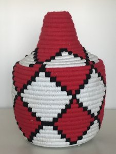 Berber mandje naturel rood zwart