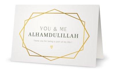Dubbele glossy wenskaart You & Me Alhamdulillah