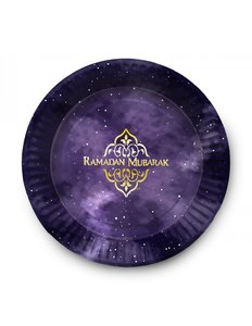 Set van 6 borden Ramadan Mubarak paars/goud