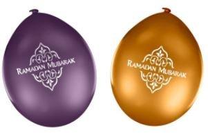 Ballonnen Ramadan Mubarak paars/goud (10 stuks)