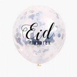 Eid ballonnen Confetti zilver (5 stuks)