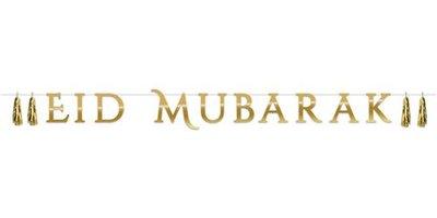 Letterslinger Eid Mubarak Goud met tassels