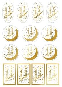 """Transparante Labels """"Ramadan Mubarak"""" Goud"""