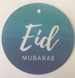 "Giftlabel ""Eid Mubarak"" blue 6,5 cm (per 20)"