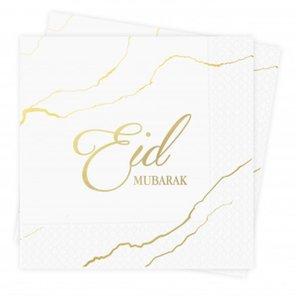 Papieren servetten Eid Mubarak wit-goud 'Bordeaux/Paars' (10 stuks)