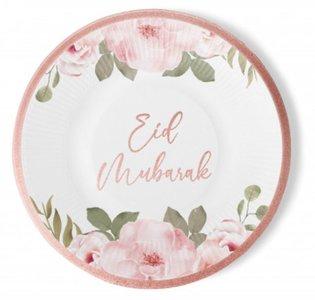 Set van 6 kartonnen borden 'Rosegold Flowers'