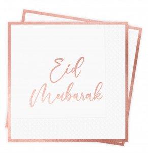 Papieren servetten Eid Mubarak 'Rosegold Flowers' (10 stuks)