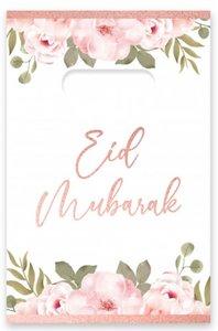 """Uitdeelzakjes Eid Mubarak """"Rosegold Flowers' (per 6)"""