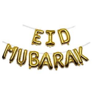 """Folieballonnen Letterslinger Goud """"Eid Mubarak"""""""